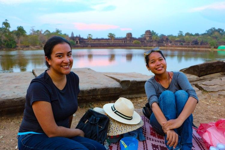 Carolina and Chana posing during our Angkor Wat picnic.