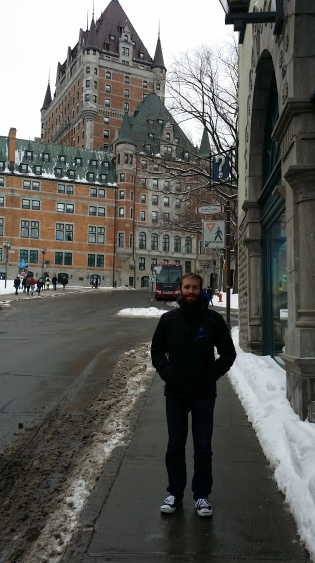 Jonathan in his sneakers in front of Chateau Frontenac, just a few minutes from our loft!