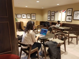 Carolina working at the Starbucks in the Fairmont Chateau Frontenac. When we arrived our loft wasn't ready, so we headed to the closest Starbucks and hopped onto that wifi!