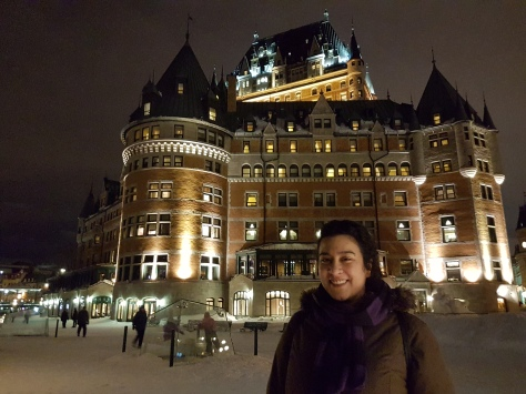 Chateau Frontenac beautifully lit up at night!!