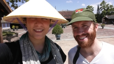 Jonathan and I with the hats we HAD to buy at Hue Imperial City because the sun was beating down on us